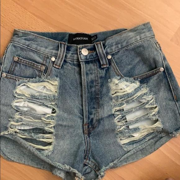 MINKPINK Pants - Minkpink High waist denim shorts